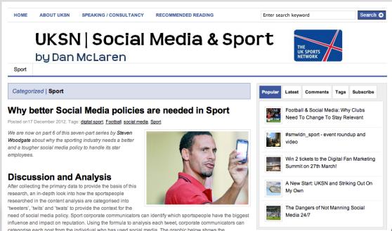 Social Media & Sport: UK sports Network